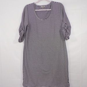 J. Jill Perfect Pima Striped Dress, Sz M,